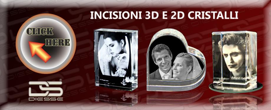 incisioni 3D cristallo , foto 3d su cristallo , incisioni bigiotteria , incisioni laser 3d